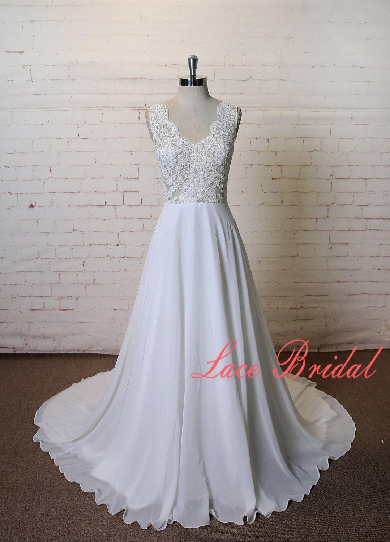 A-Linie Pure Ivory Brautkleid Spitze Chiffon Kleid sehen durch