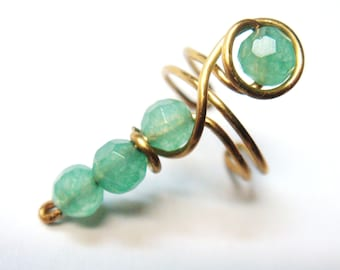 Green Aventurine Ear Cuff  Wire Wrap Ear Cuff  14K Gold Filled Ear Cuff  14K Gold  Gold Earrings  Ear cuffs
