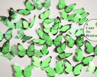 "50 small green edible butterflies, 1/2""- 1"" wide. For cakes or cupcake toppers, cake pops or smash cake topper, birthday or engagement ideas"