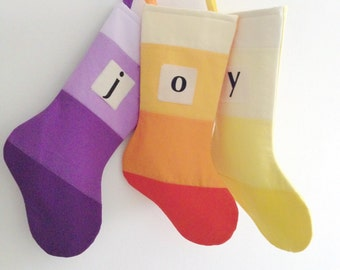 Personalized Christmas Stocking Personalized Modern Striped Colorblock Personalized Stocking Monogram Color Block Girl Boy Wonderland Purple