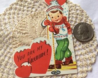 Vintage 1950s 1960s Valentine Card Little Boy Snow Hiker/Skier Collectible Paper Ephemera Art Crafts Scrap Booking