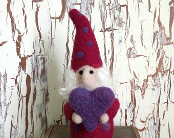 Love Gnome Dark Maroon with Purple Dots