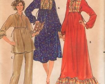 Robe de maternité élégant confortable Butterick 6191, Top, pantalon Vintage des années 1970 taille 16 buste 38