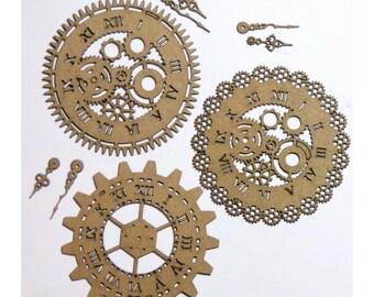 Steampunk Clocks Set of 3 Laser Cut Chipboard FREE SHIPPING! in US