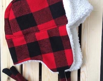 Trapper Hat / Lumberjack Hat / Ear Flap Hat / Buffalo Plaid Hat / Red Plaid Hat / Baby Trapper Hat / Kids Trapper Hat / Red Hat / Baby Gift