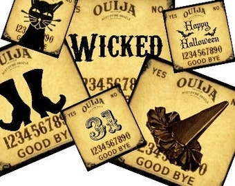 Ouija Board Halloween 2x2 and 1x1 Digital Collage Sheet - tags magnets key chains glass jewelry pendants U Print 300jpg