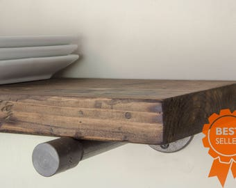 Floating Shelves | Industrial Floating Shelf | Wood Shelf | Rustic Floating Shelves | Bestseller | Farmhouse | Kitchen Shelves | Home Decor