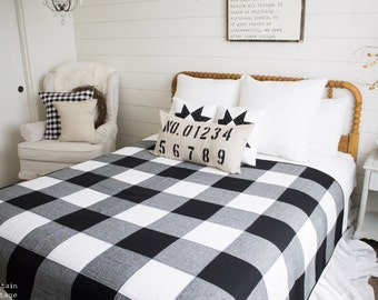 Pre-Order Farmhouse-Black and White- Buffalo Check  Quilt/Throw Blanket Gingham