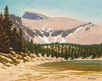 "Nevada ""Wheeler Peak' - western decor - original landscape painting - national park art - turquoise - plein air - mountain painting - lake"