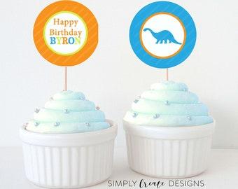 Dinosaur Cupcake Toppers DIGITAL File 8.5  x 11 JPEG File Personalized