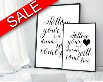 Wall Art Follow Your Heart Digital Print Follow Your Heart Poster Art Follow Your Heart Wall Art Print Follow Your Heart Typography Art love