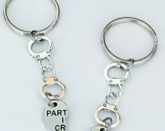 SALE - Set of 2 Partners in Crime Keychain, Handcuff Keychain, 2  Keychain Set, Best Friend keychain, Sister Keychain, Valentines day, Gift.