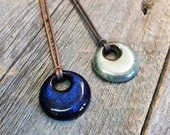 Ceramic pendant – Ring pottery necklace, Pottery jewel, Ceramic jewelry