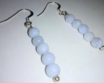 Blue Lace Agate Sterling Silver Gemstone Earrings 1.5 inches tall