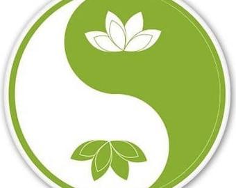 yin and yan lotus sticker