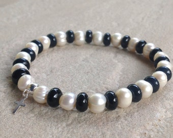 Black Onyx and White Freshwater Pearl Stretch Bracelet with Sterling Silver Cross, size large, ready to ship