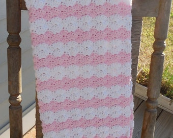 Baby Girl Pink and White Crochet Baby Blanket Baby Afghan Crochet Photo Prop 24 x 34 Ready to Ship
