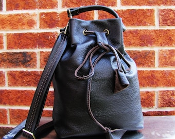 Brown Leather bucket bag, Leather drawstring bag, bucket purse, messenger and shoulder tote, in dark brown leather handbag