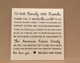 Wedding Favor Donation Cards Thank you cards PlaceCards Signs {4x4 style 1}
