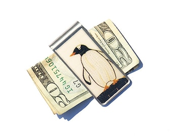 MONEY CLIP - Penguin Money Clip, NYC Money Clip, Stainless Steel Money Clip