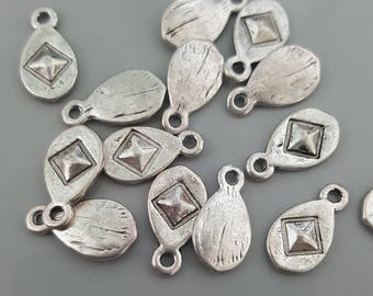 Silver Tone Raised Diamond Charms, 14x7mm - 20 Pieces