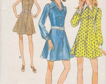 1970s Flippy Shirtwaist Mini Dress With Dog Ear Collar Vintage Pattern, Butterick 5656, Princess Seams Front Buttons Belted or Not, Contrast