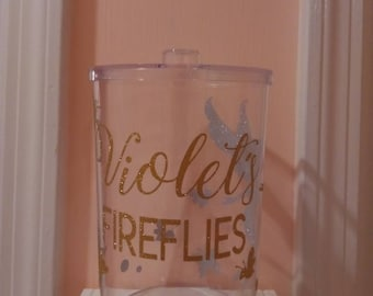 Personalized Fireflies Fairy Plastic Clear Jar - Summer Fun! Catching Lightening Bugs in Style