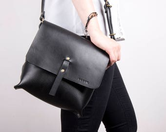 Black leather bag, crossbody bags, small leather purse, leather messenger bag, leather saddle bag, gift for women, cowhide bags