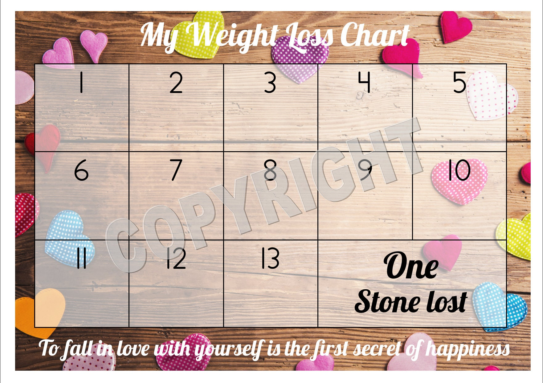 Weight Loss Chart Tracker 1 stone es with Star