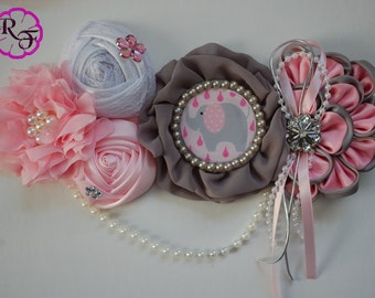 Maternity sash / Gray and pink Maternity sash /Pregnancy sash /Pink and gray elephant baby shower / Mommy to be sash / Baby shower sash belt