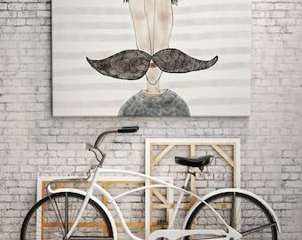PRINT   MOUSTACHE LOVE / Striped: Illustration Print.