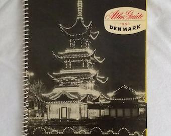Danish Travel Guide 1950s - Atlas Guide 1958 Denmark - MCM - Mid-Century Modern