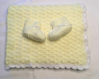 Handmade Yellow Baby Blanket and Booties