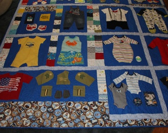 Baby clothes quilt, Memory quilt, first year quilt, recycled clothing, quilt, boy quilt, baby boy quilt, baby quilt, blue, baby boy clothes