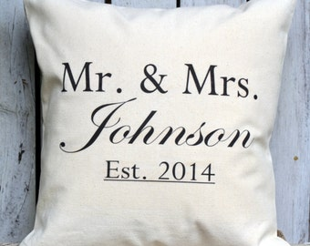 Cotton anniversary, Mother's Day gift, Personalized Mr. & Mrs. pillow, Last name pillow, newlywed pillow, 2nd Anniversary, -Johnson