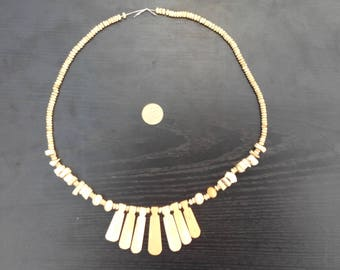 Vintage Natural Bone Necklace Boho Hippie Tribal Style Jewelry Neutral Color