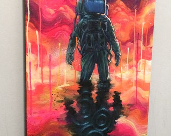 """Spaceman Art Giclee Canvas Reproduction - Surreal Artwork - Canvas Reproduction of """"Spaceman Spliff"""" by Black Ink Art"""