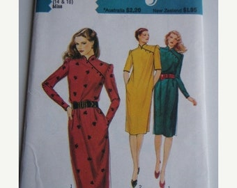 ON SALE 80's Sewing Pattern - Style 2886 Asian style dress with pockets Size 14-16 Factory folded and complete