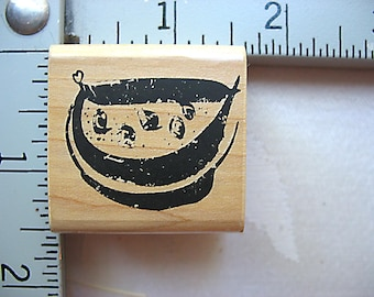 Snake Oil Sam Brush Stroke Slice of Watermelon Fruit DESTASH Rubber Stamp, Used Rubberstamp, RARE Stamp