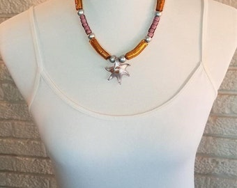 Necklace Purple and Gold Starfish