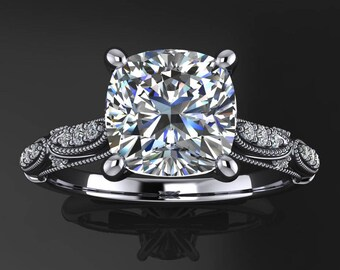 annette ring - 2 carat cushion cut NEO moissanite engagement ring, vintage inspired