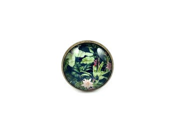 Large bronze ring * Cabochon * tropical flowers