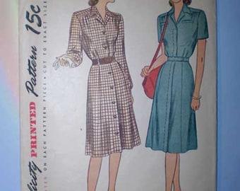 Vintage 40s Shirtwaist Dress Pattern 32 Bust