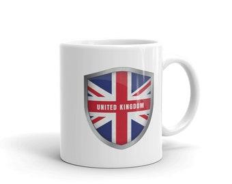 united kingdom mug, london mug, United Kingdom Flag Badge Union Jack Pride UK Flag British Flag UK Mug