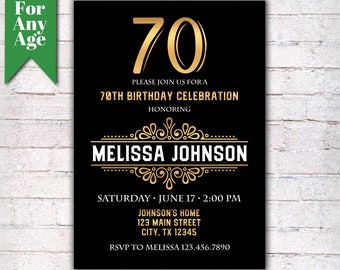 70th Birthday Invitation, Birthday Party Invite, Printable Adult Invitation, Black and Gold, Any Age, Men or Women Party  - I013