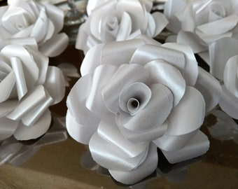 White Wedding Table Decorations, Pack of 12 Paper Roses, Pearlescent White Table Decor, White Wedding Decor.
