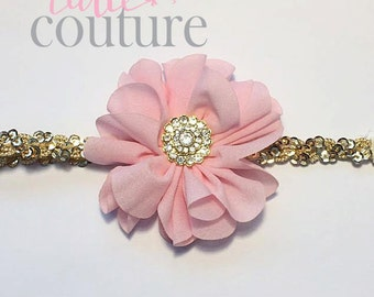 Pink and Gold Headband, pink Headband, pink birthday Headband, pink flower Headband, baby Headband, Sequin Headband, flower girl Headband