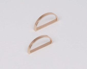 Open Half Circle Earrings, Elegant Rose Gold Earrings, Simple Minimalist Jewelry, Unique Earrings, Silver Jewelry, Contemporary Jewelry Gift