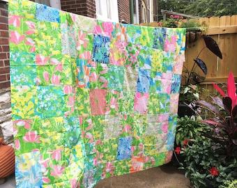 Vintage // Lilly Pulitzer // dress // shower curtain // Quilt Top // Quilt Blocks