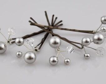 Pearl Hair Pins, Wedding Hair Pins, Bridal Hair Pins, Swarovski Pearl Hair Pin, Set of 8, Crystal Hair Pin, Wedding Jewelry, Bridal Hair Pin